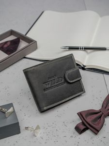 Pánská černá kožená peněženka 3201