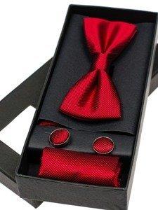 Pánská sada motýlek, manžetové knoflíčky, červeý kapesníček Bolf MSP01