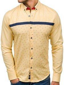 Pánská žlutá vzorovaná košile s dlouhým rukávem Bolf 6903