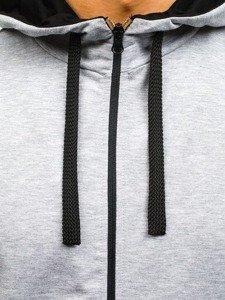 Šedá pánská dlouhá mikina na zip s kapucí Bolf 0364