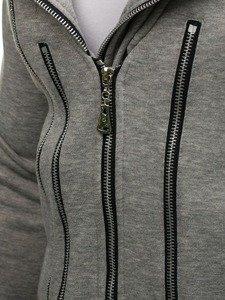 Šedá pánská dlouhá mikina s kapucí Bolf Y36-2