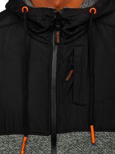 Šedá pánská mikina na zip s kapucí Bolf TC506