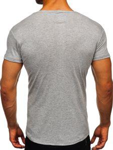 Šedé pánské tričko bez potisku Bolf NB003