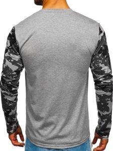 Šedé pánské tričko s dlouhým rukávem a potiskem Bolf SX029