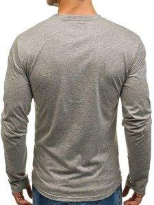 Šedé pánské tričko s dlouhým rukávem a potiskem Bolf SX049