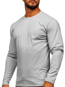 Šedé pánské tričko s dlouhým rukávem bez potisku Bolf 1209