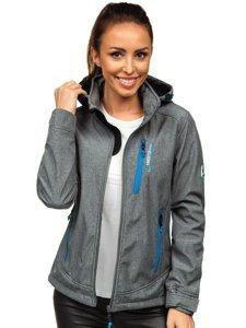Šedo-modrá dámská přechodová softshellová bunda Bolf AB001