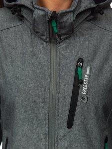 Šedo-zelená dámská přechodová softshellová bunda Bolf AB001