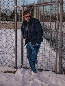 Stylizace č. 123 - zimní bunda, tričko s dlouhým rukávem a potiskem, džíny, obuv