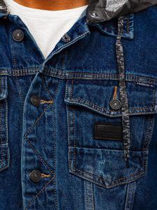 Tmavě modrá pánská džínová bunda s kapucí Bolf RB9824-1