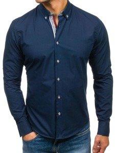 Tmavě modrá pánská elegantní košile s dlouhým rukávem Bolf 6943