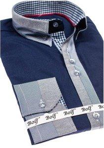 Tmavě modrá pánská elegantní košile s dlouhým rukávem Bolf 6950