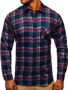 Tmavě modrá pánská flanelová košile s dlouhým rukávem Bolf F9-1