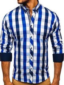 Tmavě modrá pánská kostkovaná košile s dlouhým rukávem Bolf 4791