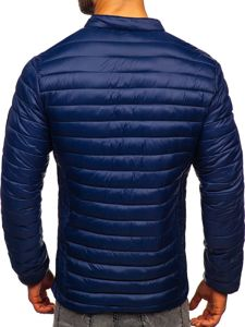 Tmavě modrá pánská prošívaná zimní bunda Bolf 1138