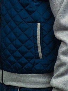 Tmavě modrá pánská sportovní přechodová bunda Bolf A91