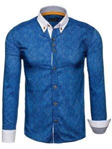 Tmavě modrá pánská vzorovaná košile s dlouhým rukávem Bolf 8842