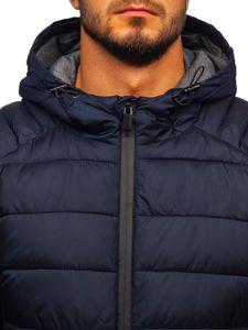 Tmavě modrá pánská zimní bunda Bolf B1270