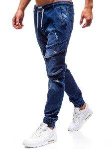 Tmavě modré pánské džínové jogger kalhoty Bolf 2048