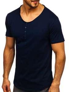 Tmavě modré pánské tričko bez potisku s výstřihem do V Bolf 4049