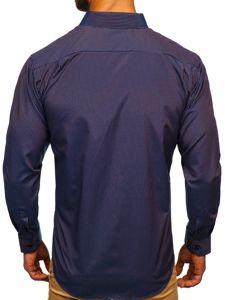 Tmavě modro-červená pánská elegantní proužkovaná košile s dlouhým rukávem Bolf NDT9