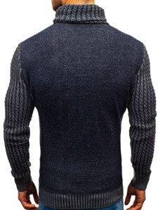 Tmavě modrý vzorovaný pánský svetr Bolf 2010