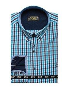 Tyrkysová pánská kostkovaná košile s dlouhým rukávem Bolf 4712