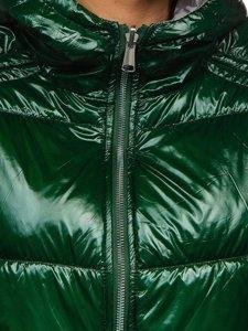 Zelená dámská oboustranná prošívaná přechodová bunda s kapucí Bolf B9553