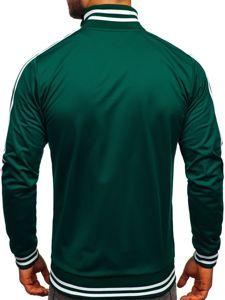 Zelená pánská mikina na zip bez kapuce retro style Bolf 11113