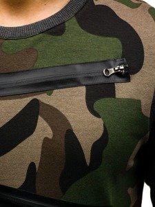 Zeleno-grafitová pánská maskáčová mikina bez kapuce Bolf 0841