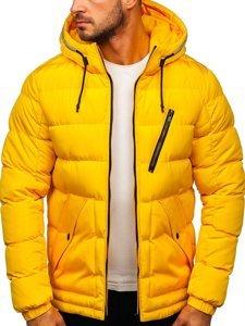 Žlutá dámská prošívaná zimní bunda s kapucí Bolf 1181