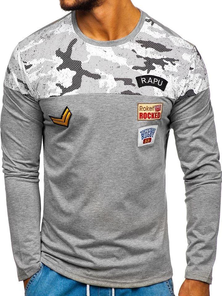 Šedé pánské tričko s dlouhým rukávem a potiskem Bolf SX025 c01f9e0c78