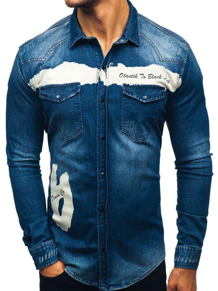 cad7049a15a Tmavě modrá pánská džínová košile s dlouhým rukávem Bolf 2063-1