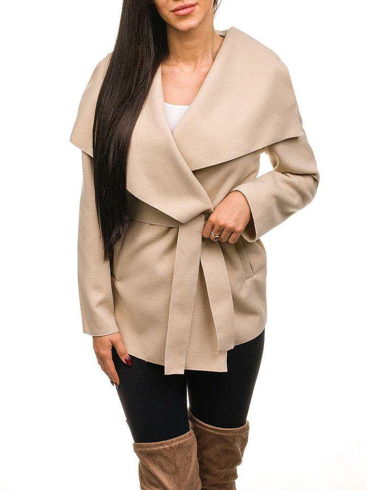 Béžový dámský krátky kabát Bolf 1726 5d23701c28