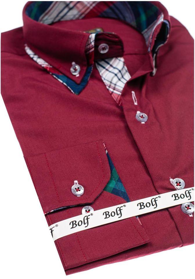 Vínová pánská elegantní košile s dlouhým rukávem Bolf 4704-1 e98abf3311