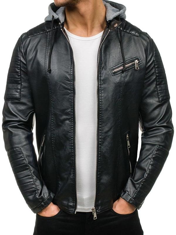 Men's Leather Jacket Black Bolf k321